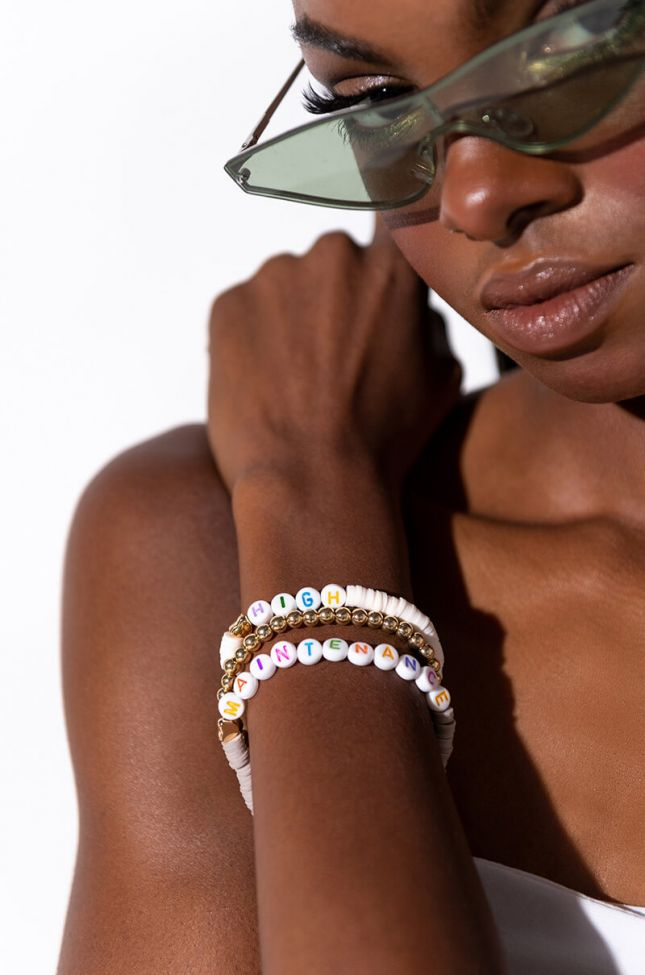 Front View High Maintenance Beaded Bracelet  in Gold Multi