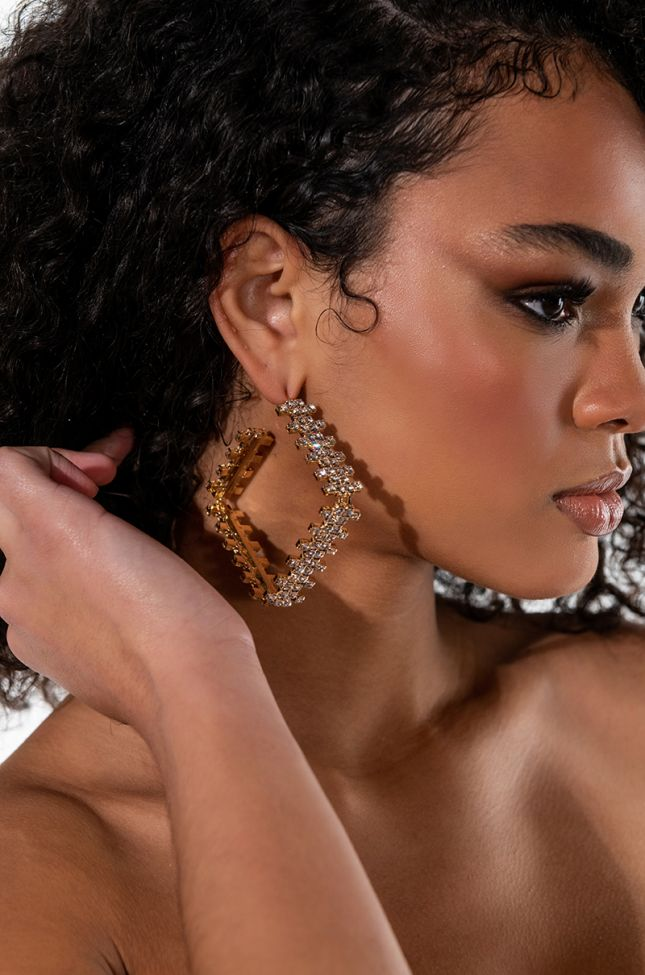 HIP TO BE SQUARE RHINESTONE HOOPS