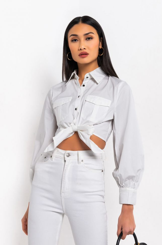 Front View Hit Me Baby One More Time Front Tie Blouse in White