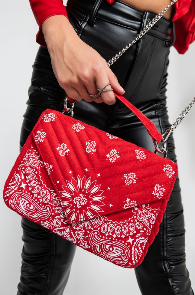 Front View Hoedown Throwdown Red Paisley Faux Suede Purse in Red