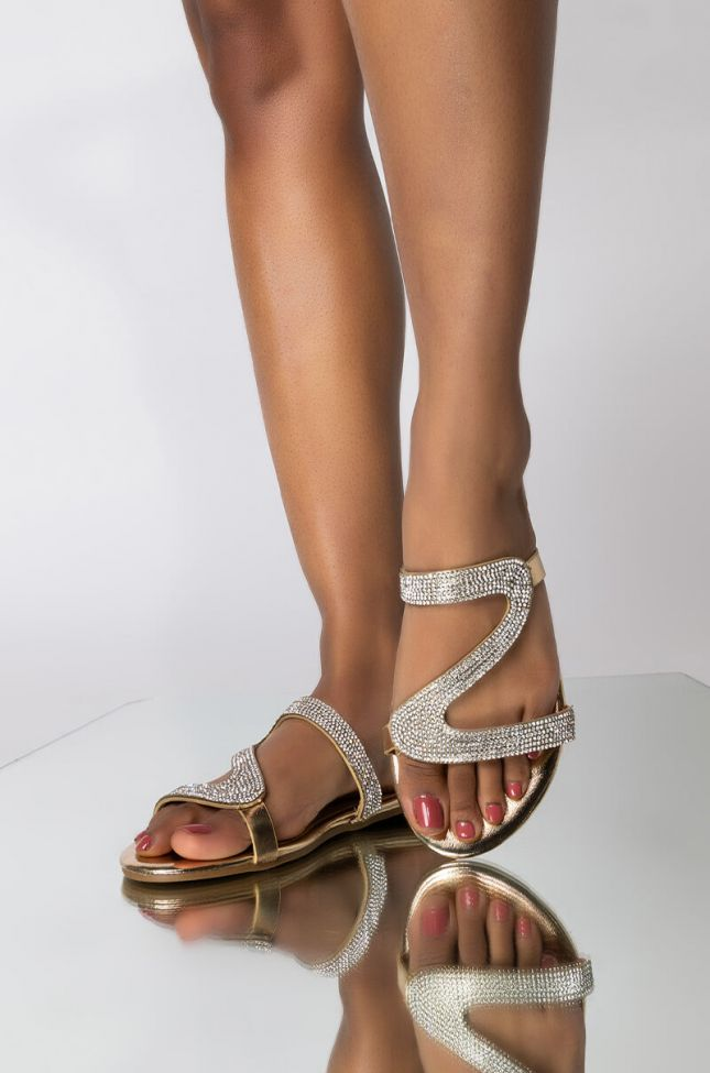 Front View Hold Me Tight Flat Sandal in Gold