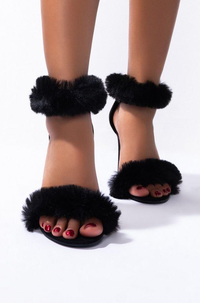 Back View Hold Me Tighter Stiletto Sandal in Black