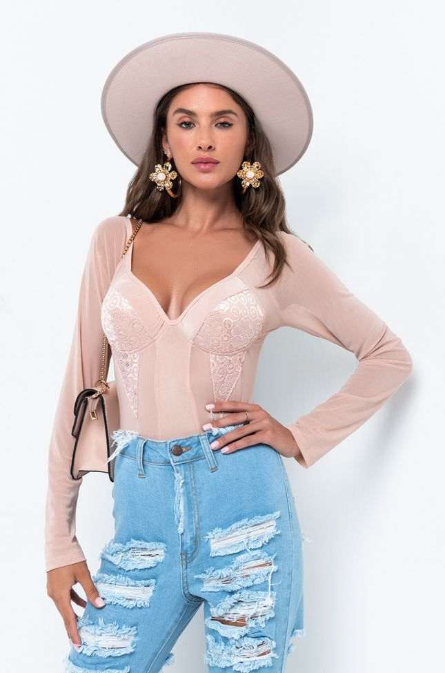 Front View Hold Your Attention Long Sleeve Lace Bodysuit in Light Pink