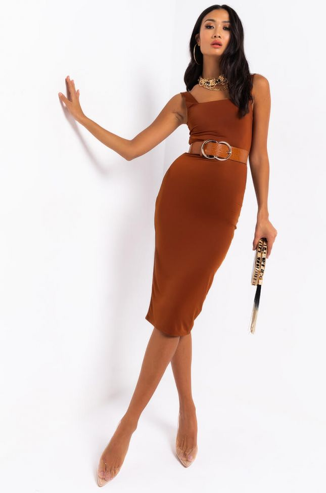 Front View Holdin Me Tight Midi Dress in Rust
