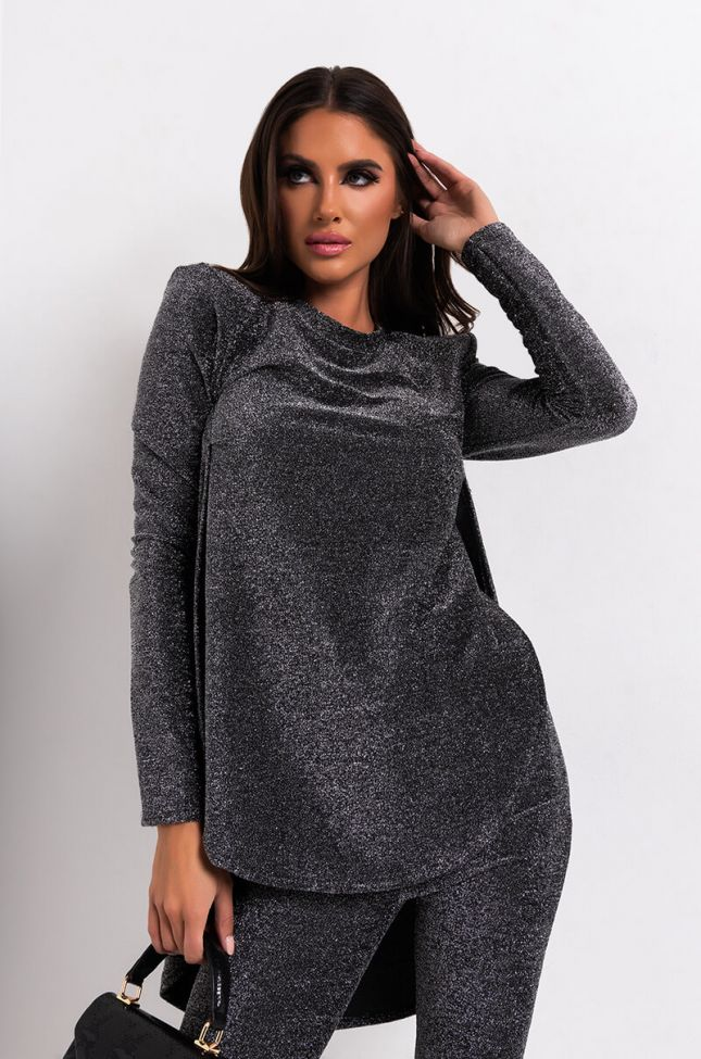 Front View Homegrown Side Slit Long Sleeve Shirt in Silver