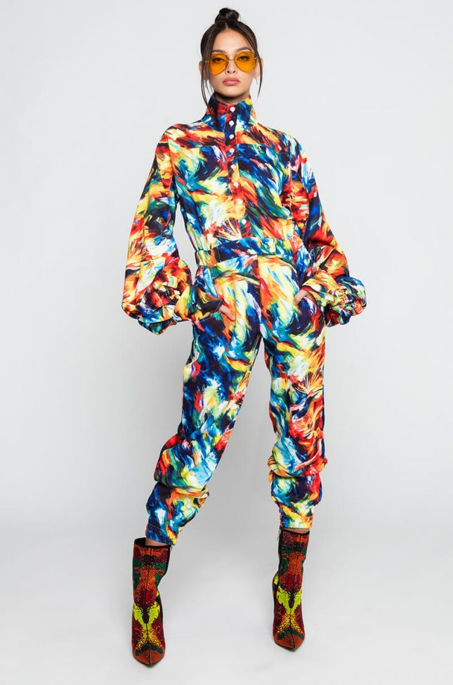 Front View Hot Girl Mock Neck Long Sleeve Jumpsuit in Blue Multi