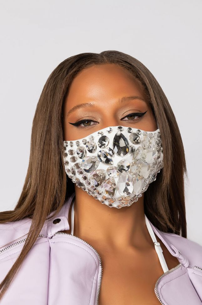 Front View Hot Girl Rhinestone Fashion Face Cover in White