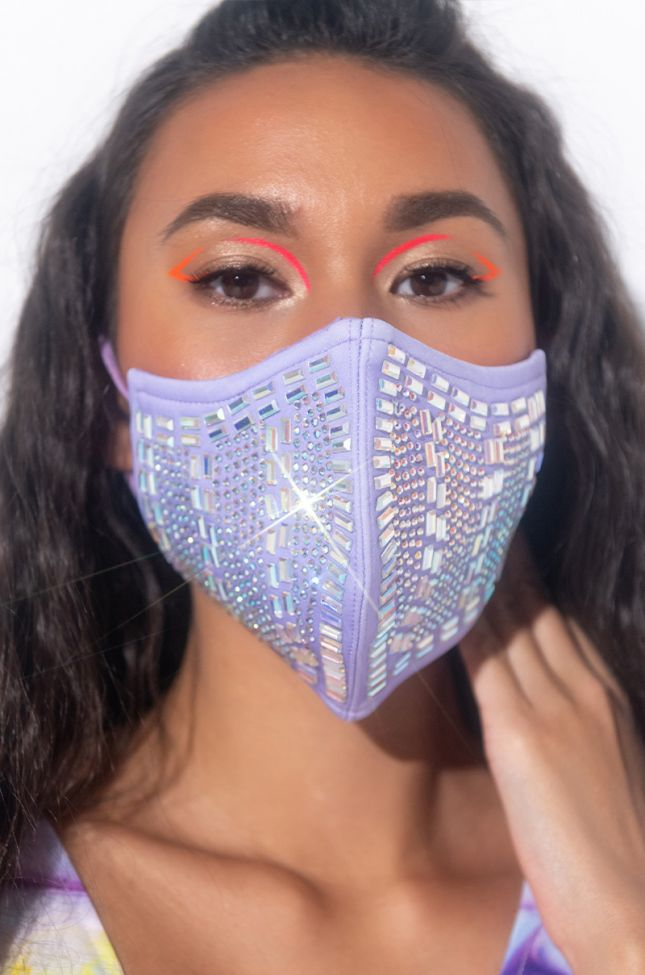 Side View Hot Girl Summer Fashion Face Cover in Light Purple