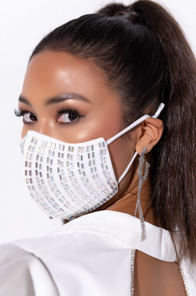 Front View Hot Girl Summer Fashion Face Cover in White