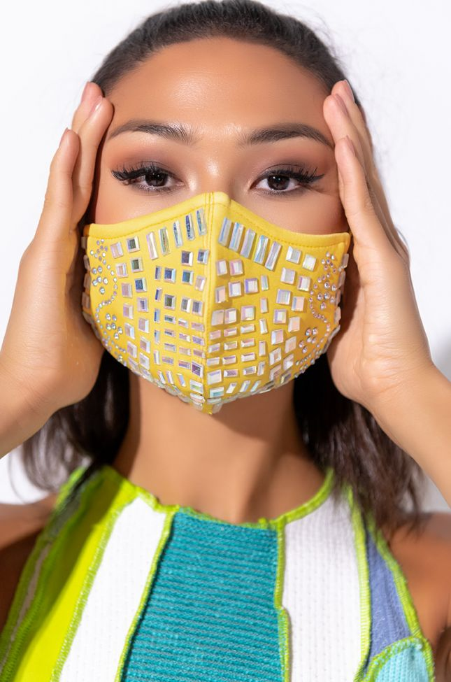 Front View Hot Girl Summer Fashion Face Cover in Yellow