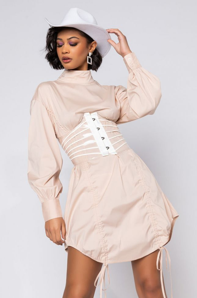 Front View Hot Lil Thang Drawstring Detail Long Sleeve Mini Dress in Beige