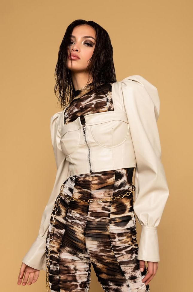 Front View Hot To Go Faux Leather Top in Ivory