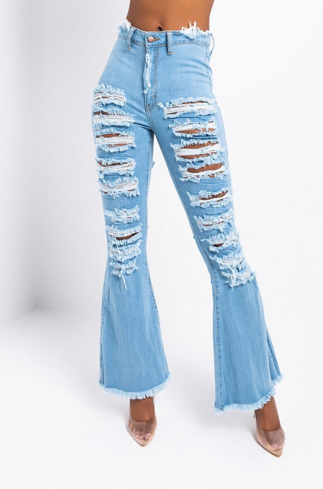 Front View Hotel California Distressed Flare Jeans in Light Blue Denim