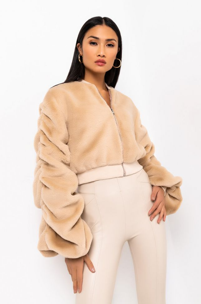 Side View Hug Me Stacked Arm Fuzzy Jacket in Beige