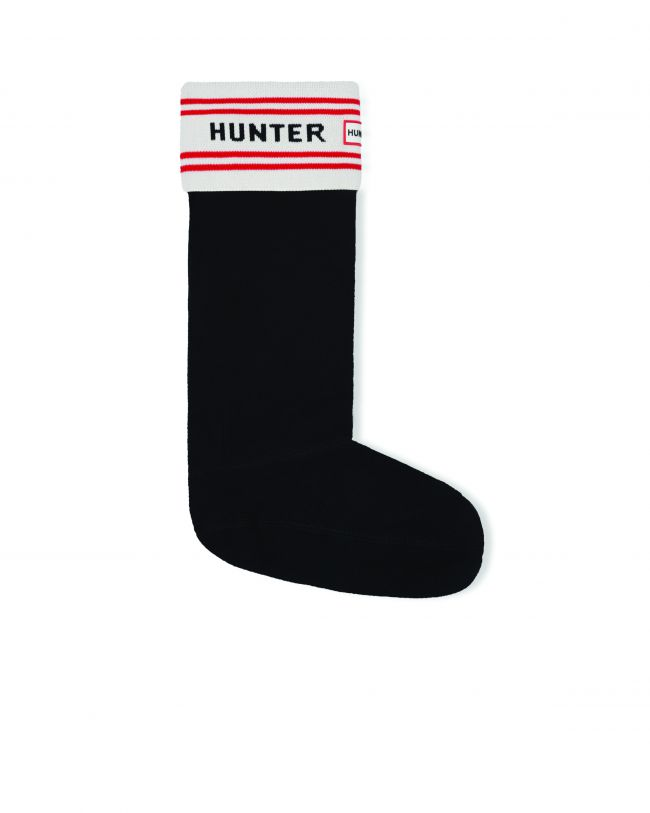Side View Hunter Branded Knitted Cuff Boot Sock in Black
