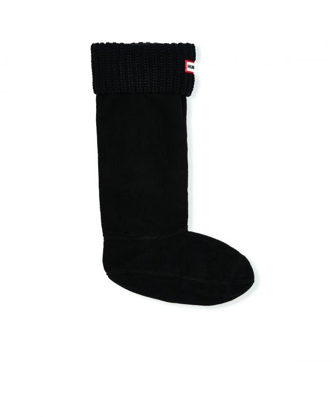 Front View Hunter Half Cardigan Stitch Boot Socks in Black