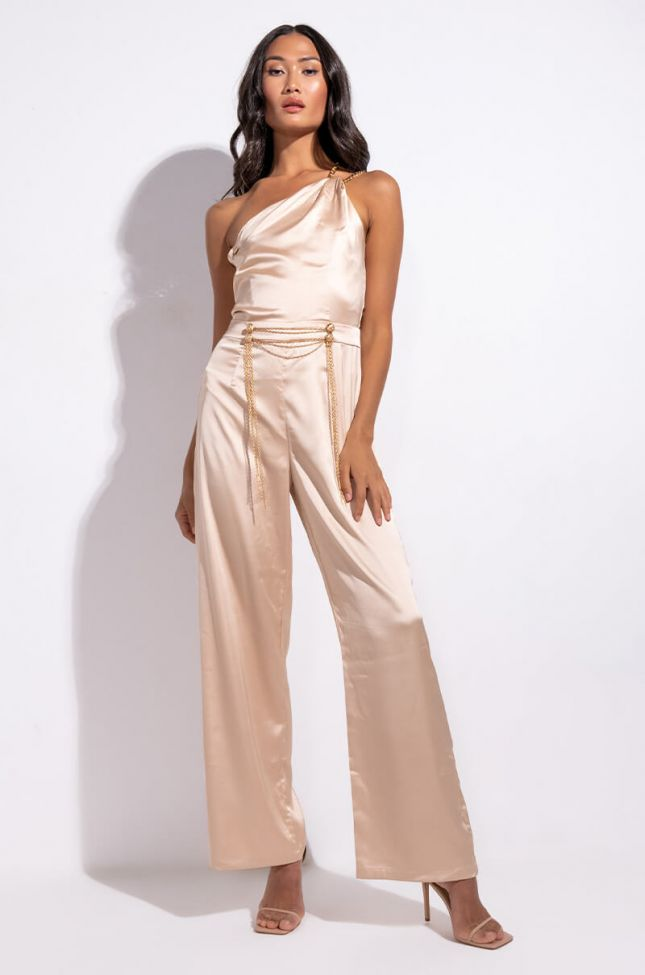 Side View Hustln Lady Satin Romper With Chain Straps