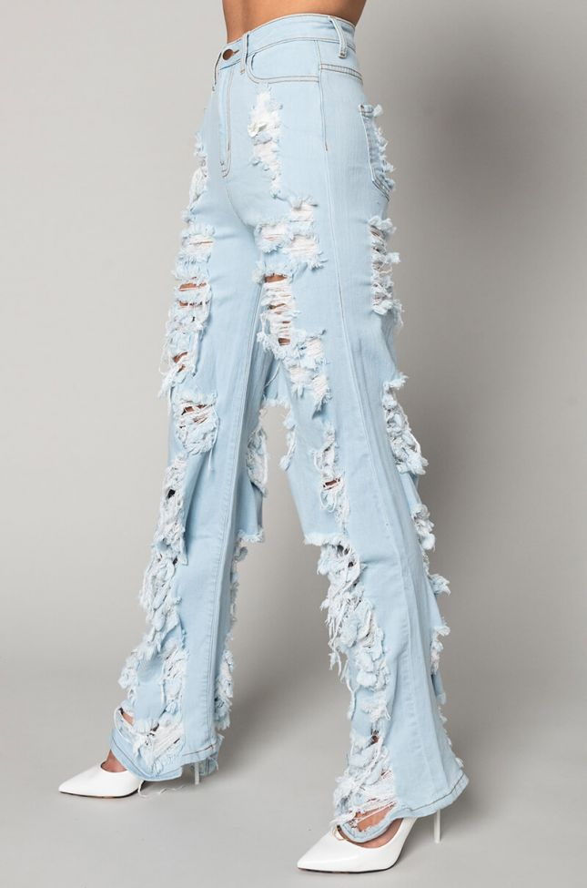 Side View I Am Always Here Relaxed Jeans in Light Blue Denim