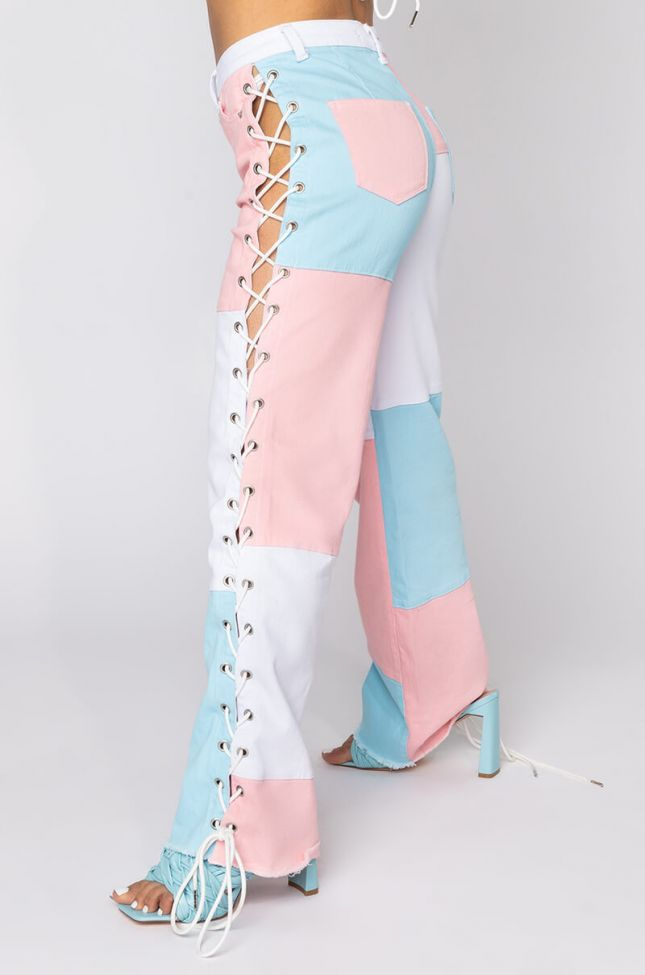 Detail View I Am Me Hannah Straight Leg Side Lace Patchwork Denim in Pink Multi