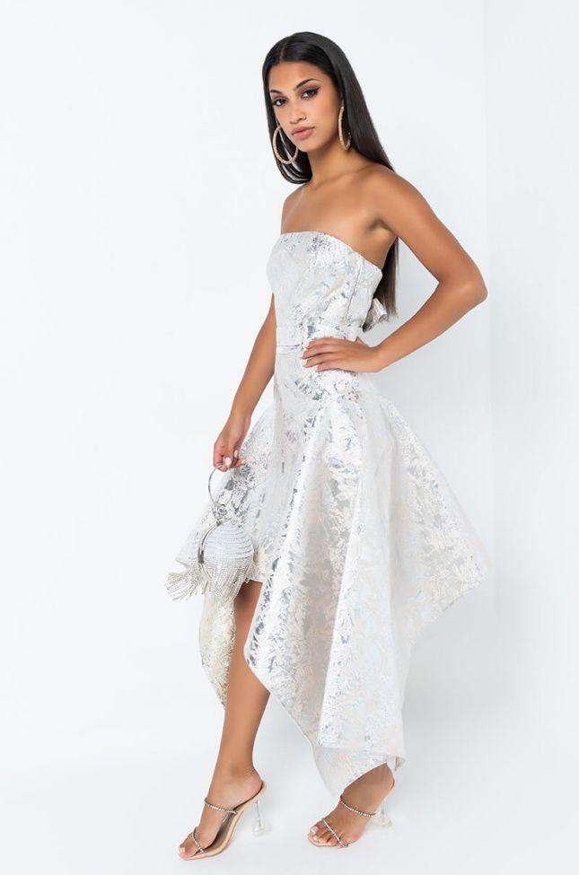 Side View I Am Royalty Tube Asymmetrical Midi Dress in Silver