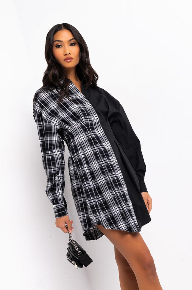 Front View I Am Woman Long Sleeve Button Up Mini Dress in Black White