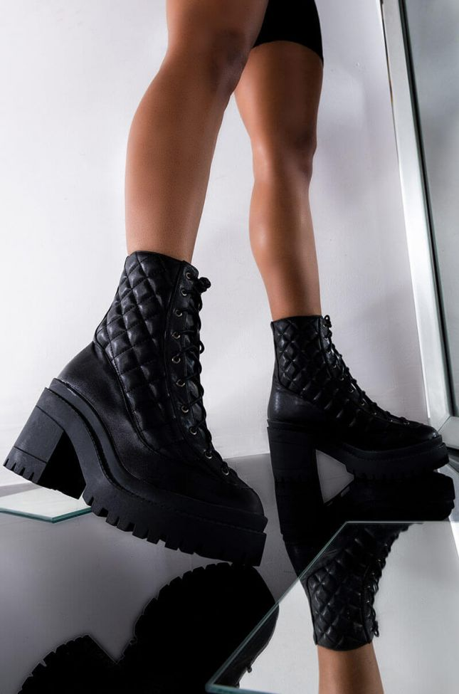Front View I Call The Shots Chunky Bootie in Black