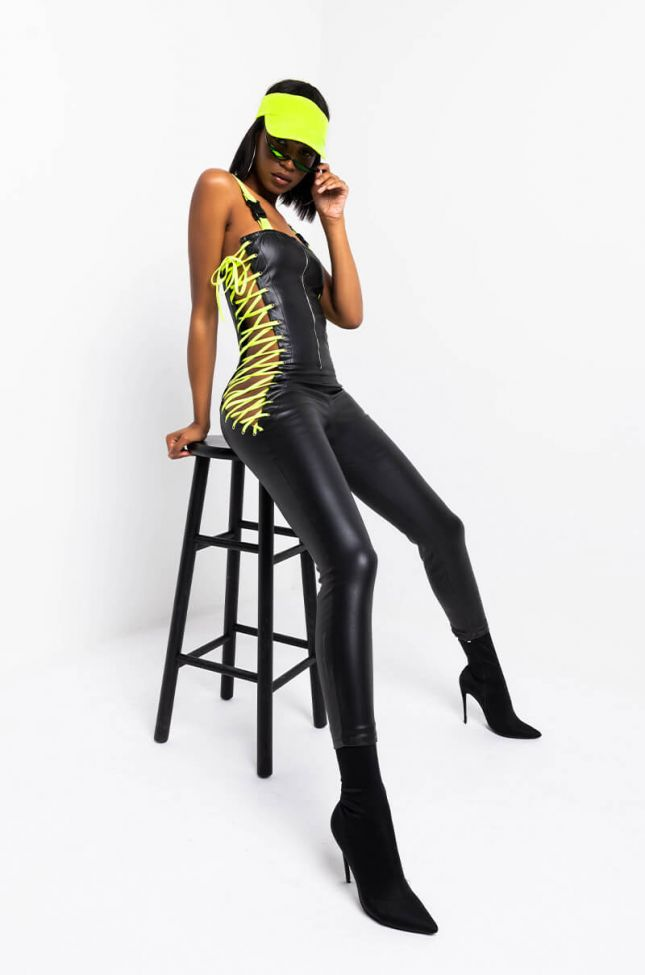 Front View I Can Fix That Side Lace Up Jumpsuit in Black Multi
