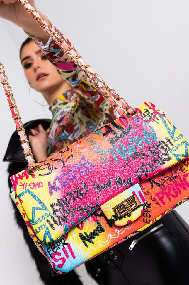 Front View I Can Have It All Graffiti Purse in Yellow Multi