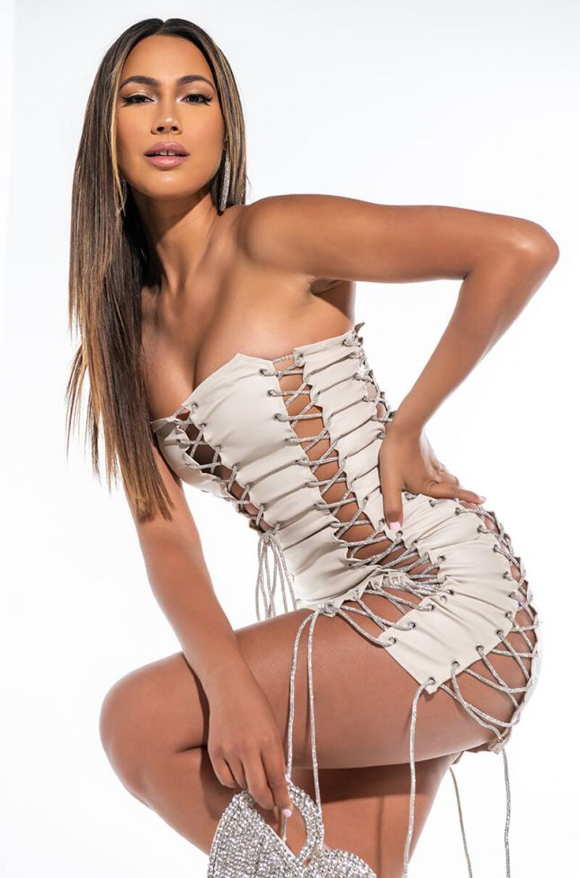 Side View I Didnt Ask Mini Dress With Rhinestone Lace Up