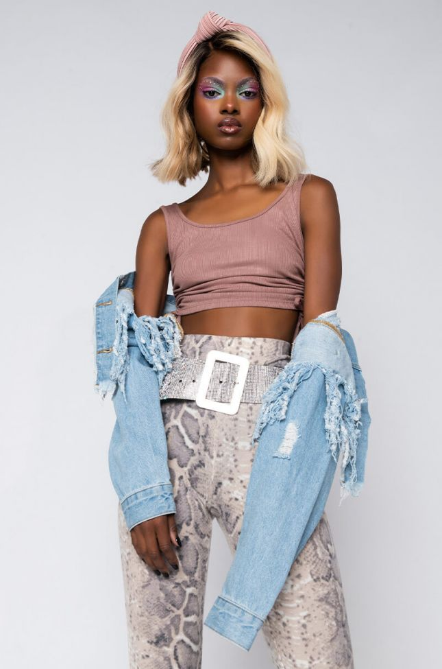 Front View I Do Hot Sh*t Side Drawstring Crop Top in Light Brown