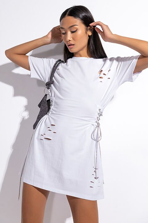 I DON'T CARE T SHIRT DRESS WITH RHINESTONE TIE
