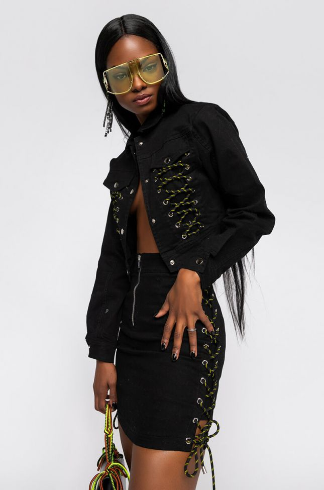 Front View I Handle My Own Crop Jacket With Lace Up in Black