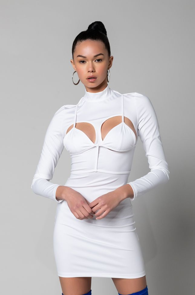 I MAKE THE RULES MOCK NECK MINI DRESS WITH ATTACHED BRA