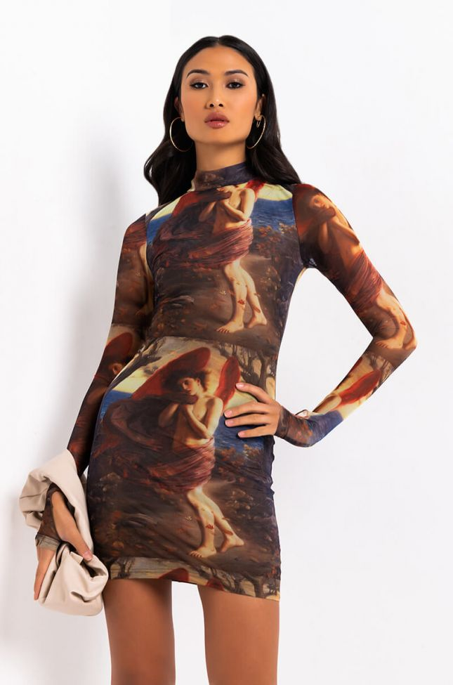 Front View I Pray For You Long Sleeve Collared Mini Dress in Multi