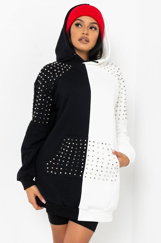 Front View I Put On For My City Studded Long Sleeve Sweater Dress in Black White