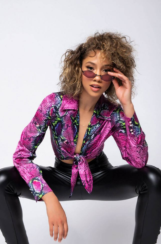 Full View I See You Snake Long Sleeve Tie Front Bodysuit in Purple Multi