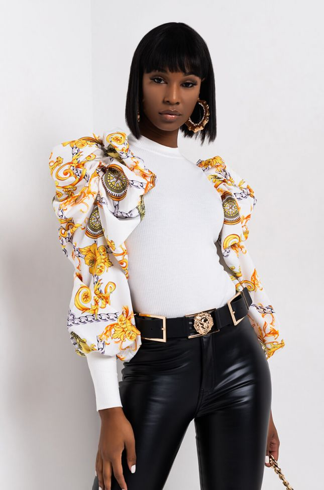 Side View Ice Queen Puff Sleeve Blouse in White Multi