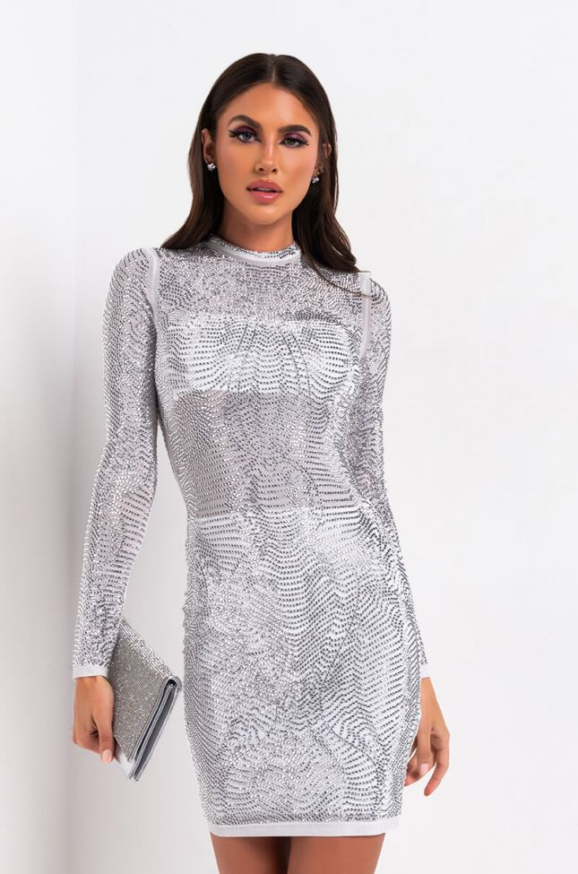Front View Ice Queen Rhinestone Mini Dress in White