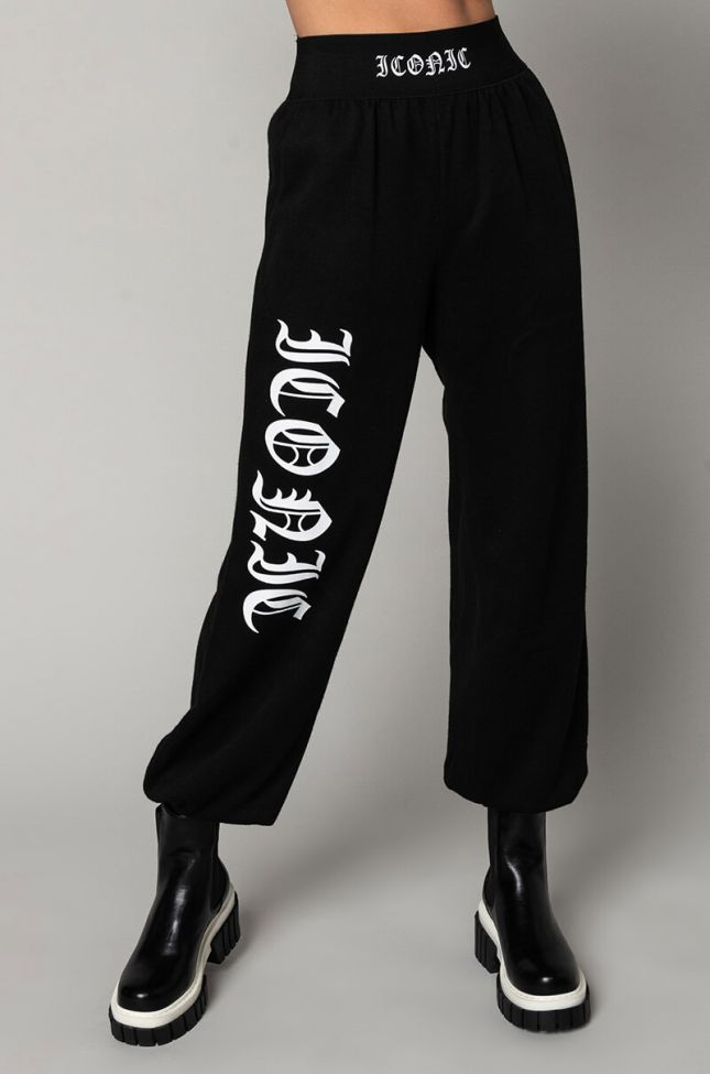 Front View Iconic Elastic Band Jogger in Black