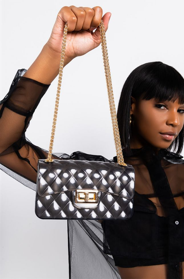 Front View Iconic Mini Purse in Clear Black