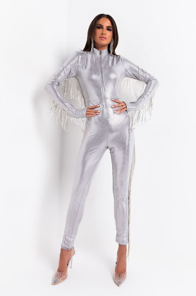 Front View Icy Bish Rhinestone Trim Jumpsuit in Silver