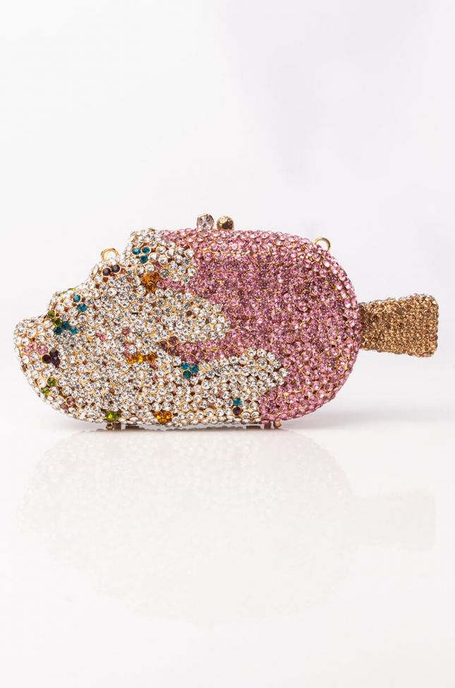 Back View Icy Ice Cream Rhinestone Clutch in Pink Multi