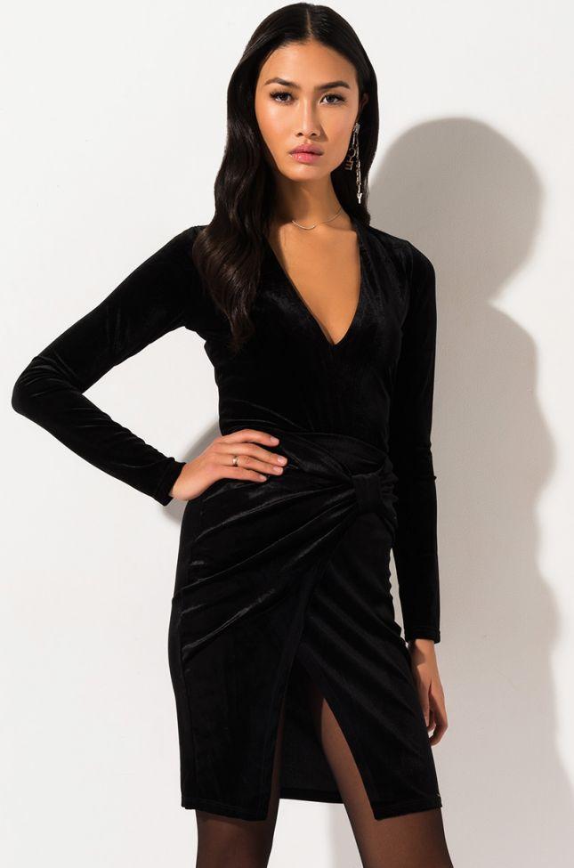 Front View If I Say Velvet Front Slit Midi Skirt  in Black