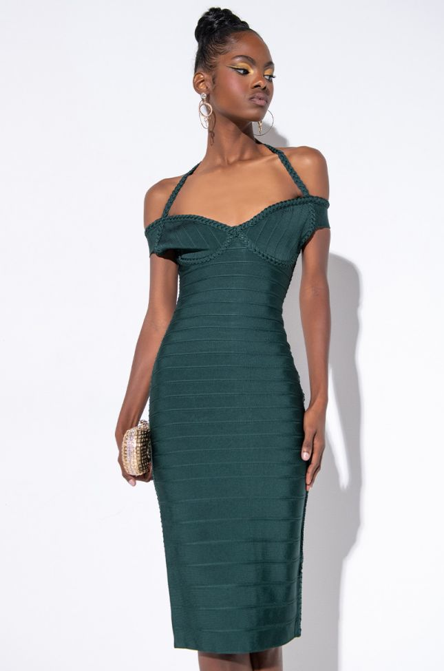 Front View Ill Take Yo Man Braid Detail Off The Shoulder Bandage Dress in Emerald