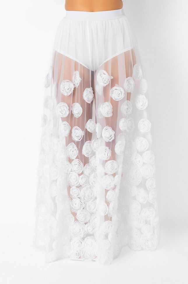 Front View Im Good Love, Mesh Maxi Skirt in White
