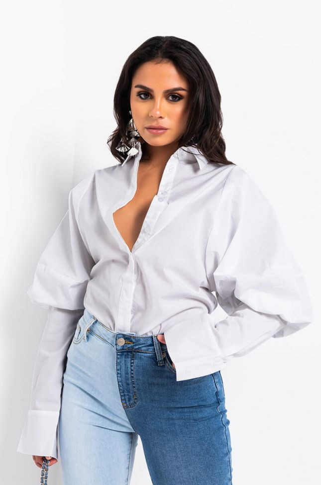 Side View Im Not Bossy Im The Boss Button Up Puff Sleeve Blouse in White