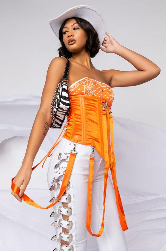 Front View Im Silky Satin Corset in Orange
