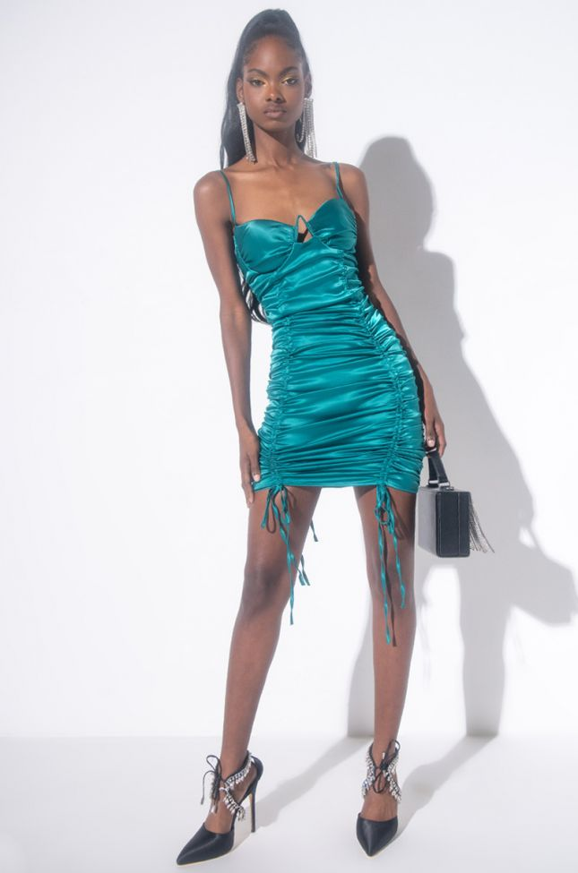 In A Boss Bitch Mood Mini Dress With Ruched Front in Teal