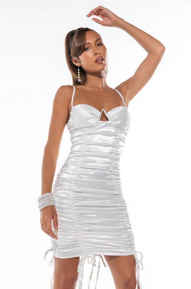 Front View In A Boss Bitch Mood Mini Dress With Ruched Front