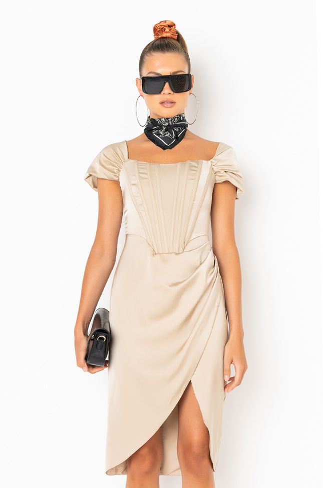 Front View In A Wonderland Off The Shoulder Dress in Light Brown
